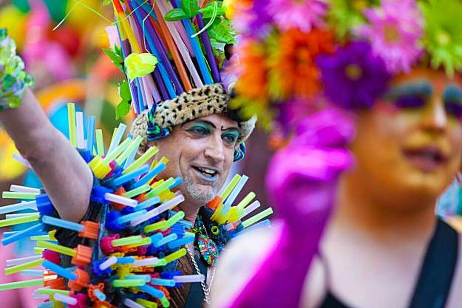 This man is decked out in the colorful regalia of a Gay Pride marcher at the San Francisco's 40th annual LGBT parade. Photo: Sculthorpe, Reader Photo