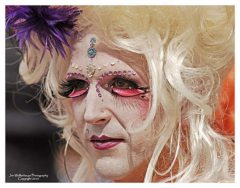 This reveler shows off the elaborate make-up, complete with rhinestones and false eyelashes, that is particular to Gay Pride parade. Photo: Sfphotoguy, Reader Photo