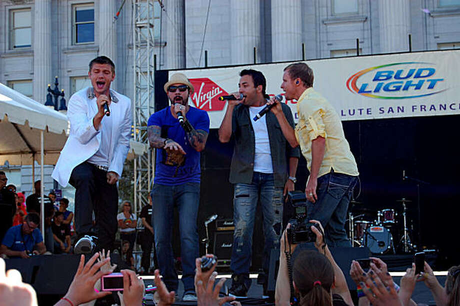The Backstreet Boys performed in front of Civic Center during the celebration that followed San Francisco's 40th annual Gay Pride parade. Photo: Jasonnryan, Reader Photo