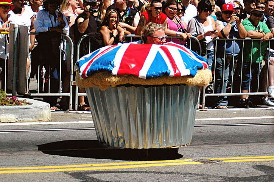 The crowd enjoyed this particular costume, a British-themed muffin on wheels, by Acme Muffineering. Photo: Rsjaeger, Reader Photo