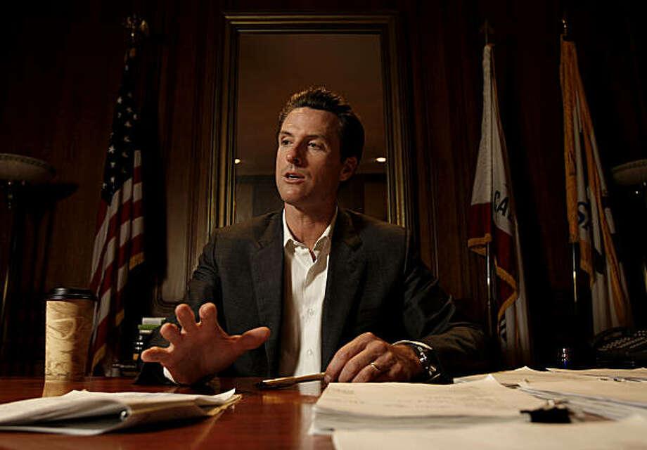 Mayor Gavin Newsom in his city hall offices in San Francisco, Calif. on Thursday  Oct. 30, 2008. Photo: Michael Macor, The Chronicle