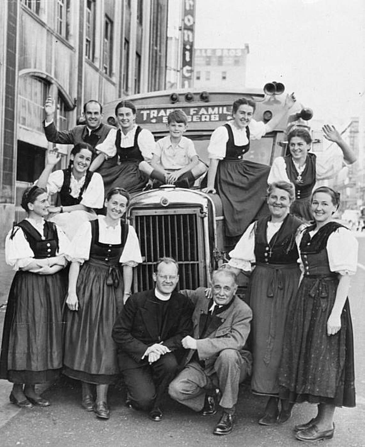 """A 1946 photo provided by Lindstrom Literary Management shows the Trapp Family Singers, whose story was the basis for """"The Sound of Music,"""" during a 1946 U.S. tour. Agathe von Trapp, in the first row, far right, died Tuesday, Dec. 28, 2010 in a suburban Baltimore hospice at age 97."""