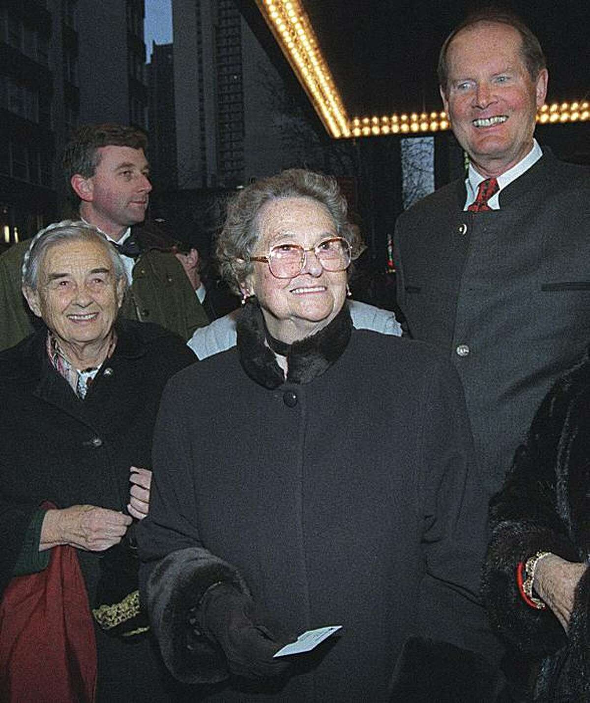 """In this March, 12, 1998 file photo, Agathe von Trapp, center, arrives with her sister, Maria, left, and brother, Johannes, right, at the Martin Beck Theatre to see the reopening of the Broadway musical """"The Sound of Music"""" in New York. Agathe von Trapp died Tuesday, Dec. 28, 2010 in Townson, Md. She was 97."""