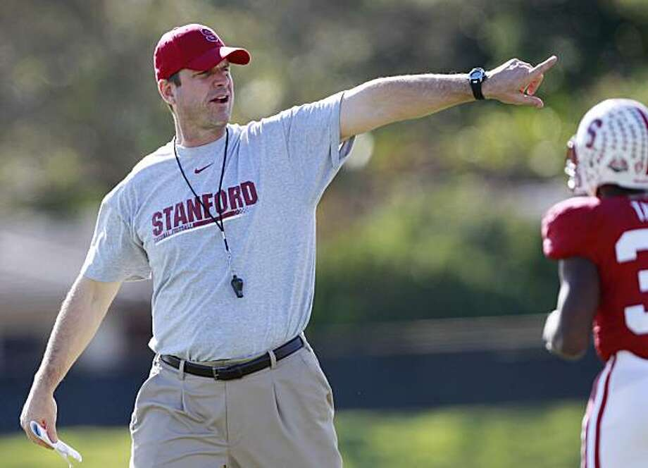 Stanford football head coach Jim Harbaugh yells instructions during practice at Barry University in Miami Shores, Fla., Wednesday, Dec. 29, 2010. Stanford is scheduled to play Virginia Tech in the Orange Bowl NCAA college football game on Jan. 3, 2010. Photo: Hans Deryk, AP