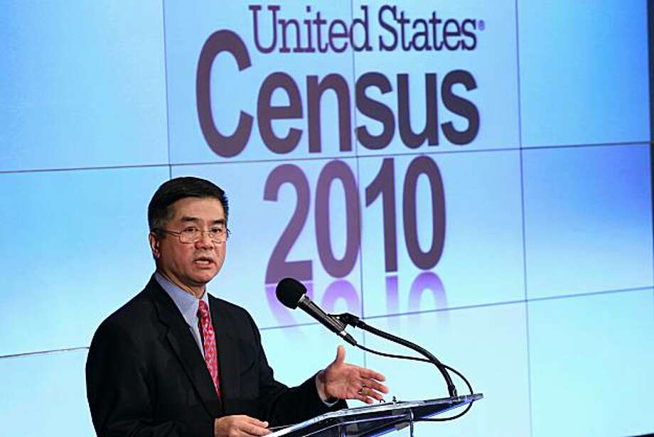 WASHINGTON, DC - DECEMBER 21:  U.S. Secretary of Commerce Gary Locke discusses the first results of the 2010 Census during a press conference December 21, 2010 in Washington, DC. The population of the United States was listed at 308,745,538, which calculated to a 9.7% increase, the slowest rate of growth since the Great Depression. Photo: Win McNamee, Getty Images