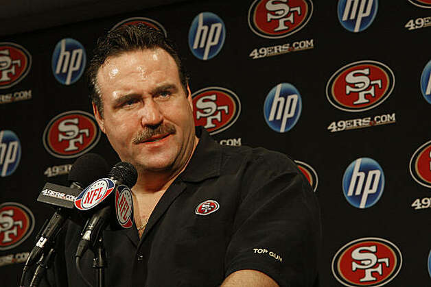 Defensive lines coach Jim Tomsula has been named the interim head coach of the 49ers , to replace Mike Singletary, at their headquarters during a press conference in Santa Clara, Calif., on Monday, December 27, 2010. Photo: Liz Hafalia, The Chronicle