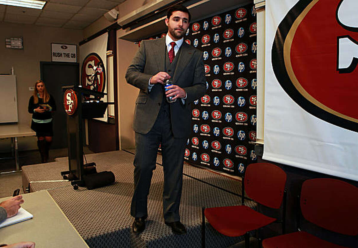 The San Francisco 49ers' CEO and team president Jed York leaves after a press conference at their headquarters in Santa Clara, Calif., on Monday, December 27, 2010.