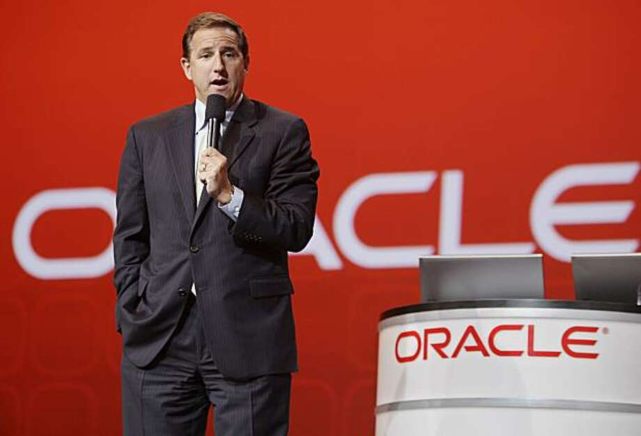 Oracle Corp. co-president Mark Hurd gives a keynote address, Wednesday, Sept. 22, 2010, at Oracle World in San Francisco. Hurd is the former CEO of Hewlett-Packard Co. He will report to Oracle's CEO Larry Ellison. Photo: Paul Sakuma, AP