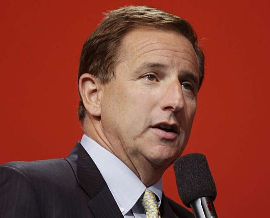 In this Sept. 22, 2010 file photo, Oracle Corp. co-president Mark Hurd speaks during a keynote address at Oracle World in San Francisco. The Securities and Exchange Commission is investigating the circumstances of Hurd's forced resignation from Hewlett-Packard Co. in August, a surprising exit that triggered an immediate $9 billion drop in HP's market value and involved allegations of sexual harassment and inappropriate sharing of inside information. Photo: Paul Sakuma, AP