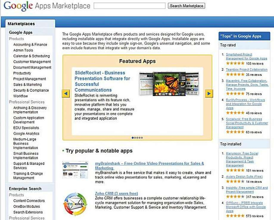 The front page of the Google Apps Marketplace. Google is talking with makers of educational software to help build a marketplace for online learning programs, an industry whose value may approach $5 billion this year. Games and instructional tools for teachers from companies such as Grockit Inc. and Aviary Inc. are already offered in the Google Apps Marketplace, an online store that opened in March. Google, the world?s largest search engine, seeks to lure more educational developers, company executives said. Photo: Courtesy Google
