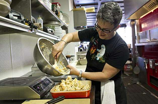Sharon Ardiana makes her baked rigatoni dish at Ragazza in San Francisco, Calif., on Thursday, December 16, 2010. Photo: Laura Morton, Special To The Chronicle