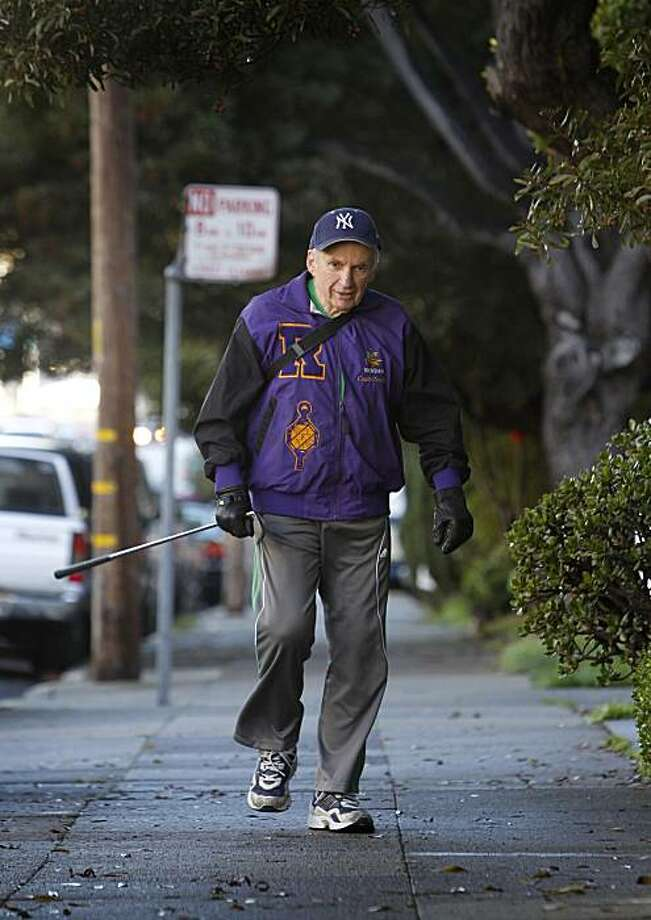 Stanford Chandler heads out for his daily walk in San Francisco, Calif., on Wednesday, Nov. 10, 2010. Chandler frequently collects discarded items while he's walking. Photo: Paul Chinn, The Chronicle