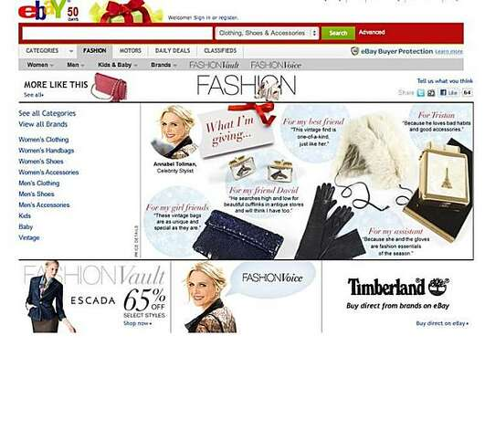 EBay's home page of its fashion.ebay.com site, which launched in April of this year and reaches 10 million fashion shoppers monthly. Photo: EBay