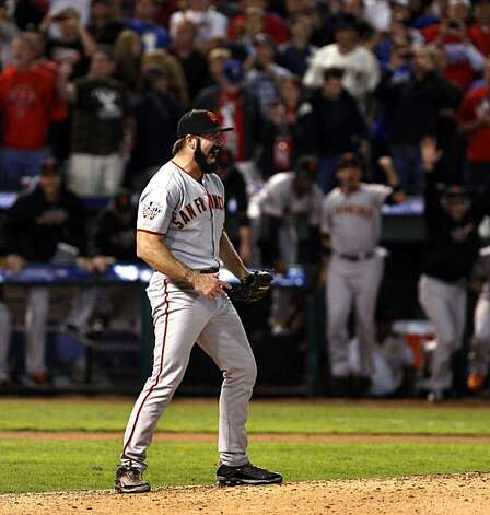 Closer Brian Wilson celebrates his last out, which clinched the World Series for the San Francisco Giants in Game 5 at Rangers Ballpark on Monday. Photo: Lance Iversen, San Francisco Chronicle