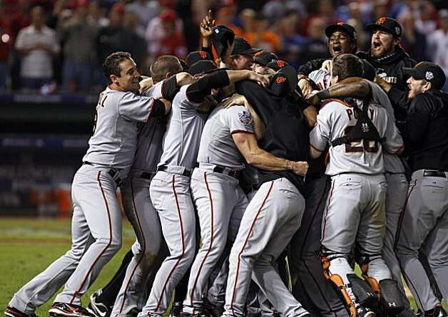 San Francisco Giants celebrate there first ever San Francisco Giants World Series Monday Nov. 1, 2010 after beating the Texas Rangers in game five at Rangers Ballpark in Arlington 3-1 Photo: Lance Iversen, The Chronicle