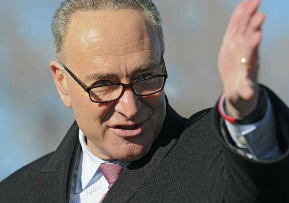 Sen. Charles Schumer speaks during a press conference Monday, Jan 9, 2012 at Canal Park across from the Watervlet Arsenal in Watervliet N.Y.  (Lori Van Buren / Times Union) Photo: Lori Van Buren