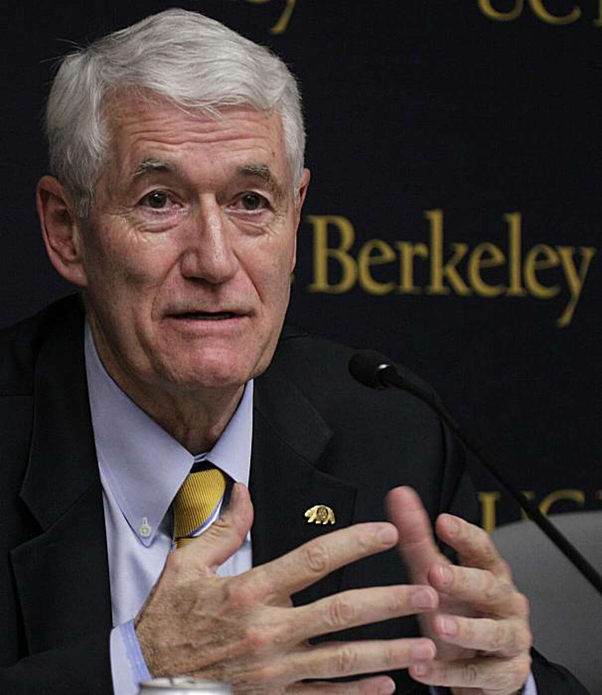 University of California at Berkeley Chancellor Robert Birgeneau gestures during a news conference Tuesday, Sept. 28, 2010, in Berkeley, Calif. In its latest move to cut costs, the University of California, Berkeley, is eliminating five of its intercollegiate sports programs, including its championship men's rugby team, officials said Tuesday. Cal's baseball, men's and women's gymnastics, and women's lacrosse teams will no longer represent the university in intercollegiate competition after this academicyear, officials said. The men's rugby team, which has won 25 national championships since 1980, will move into a new category called