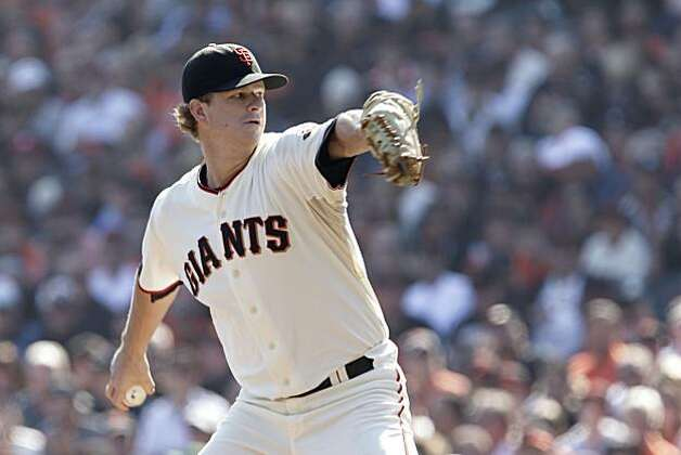Giants starting pitcher Matt Cain works against the Philadelphia Phillies during Game 3 of the National League Championship Series at AT&T Park on Tuesday. Photo: Lacy Atkins, The Chronicle