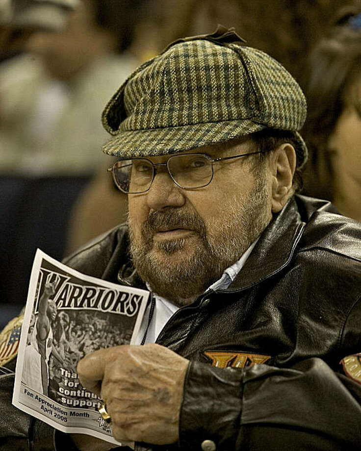 Franklin Mieuli and his trademark cap as visible as ever at a Warriors game in 2004. Photo: John O'Hara, The Chronicle