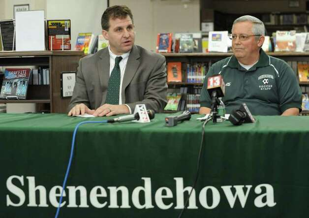 Director of Athletics Chris Culnan, left, talks before Shenendehowa soccer coach Mike Campisi officially announces that he's stepping down from his role as head coach and talks about his new roles Monday, Jan 9, 2012 at the High School in Clifton Park, N.Y.  (Lori Van Buren / Times Union) Photo: Lori Van Buren