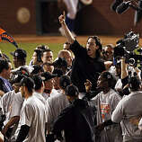 Winning pitcher, Tim Lincecum is lifted up on teammates shoulders as the Giants celebrate on the field after winning the final game of the World Series.The San Francisco Giants defeated the Texas Rangers 3-1 in Game 5 of the World Series at Rangers Ballpark in Arlington, Tx, on Monday, November 1, 2010.