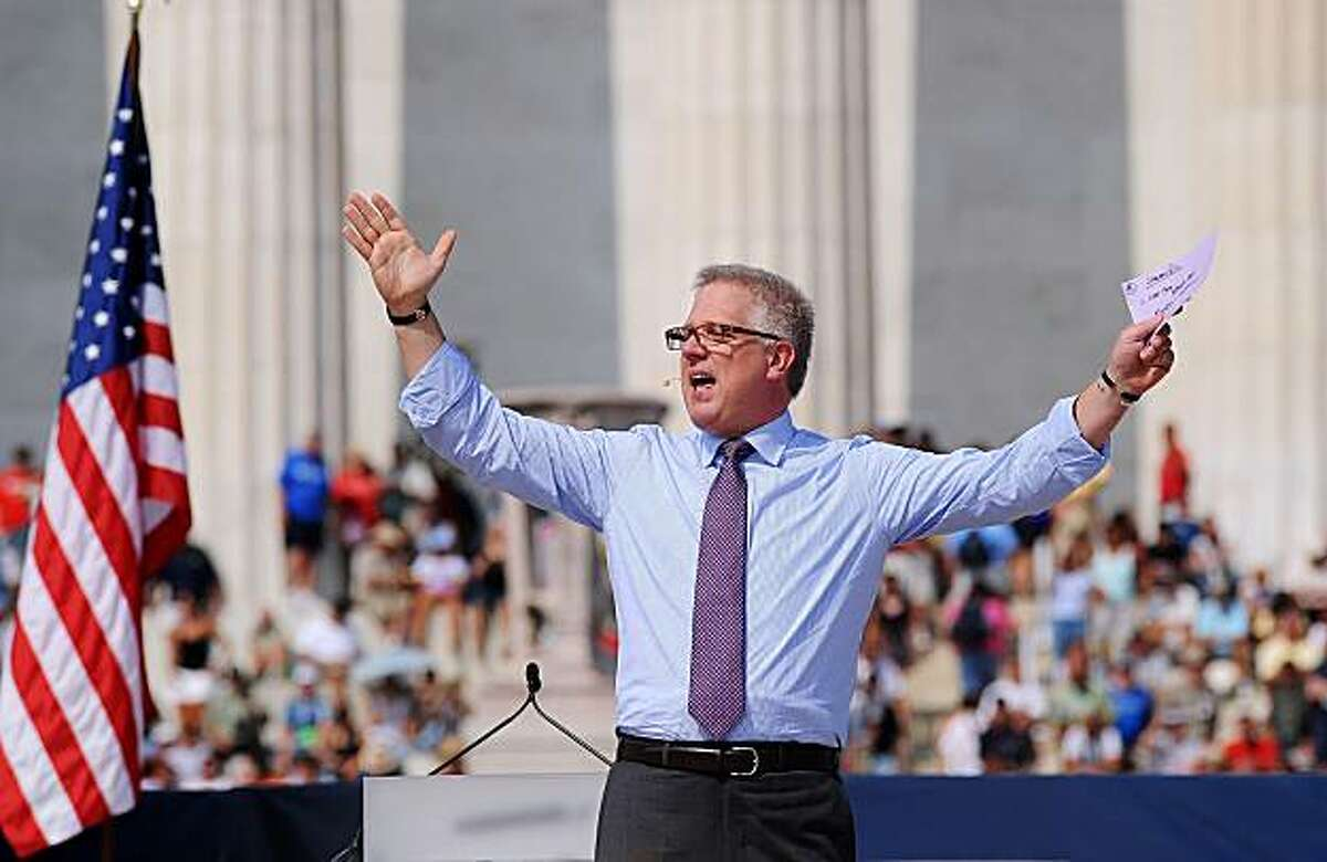 """Radio and Fox television commentator Glenn Beck addresses thousands of Tea Party activists at a """"Restoring America"""" rally at the Lincoln Memorial in Washington, D.C., Saturday, August 28, 2010. The rally was held on the 47th anniversary of Martin Luther King Jr.'s historic march. (Olivier Douliery/Abaca Press/MCT)"""