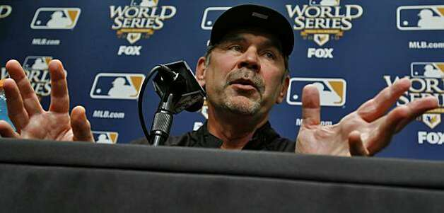 San Francisco Giants manager Bruce Bochy answers question at media day in preparation of the Game 1 of the World Series, Tuesday Oct. 26, 2010, at AT&T Park, in San Francisco, Calif. Photo: Lacy Atkins, The Chronicle