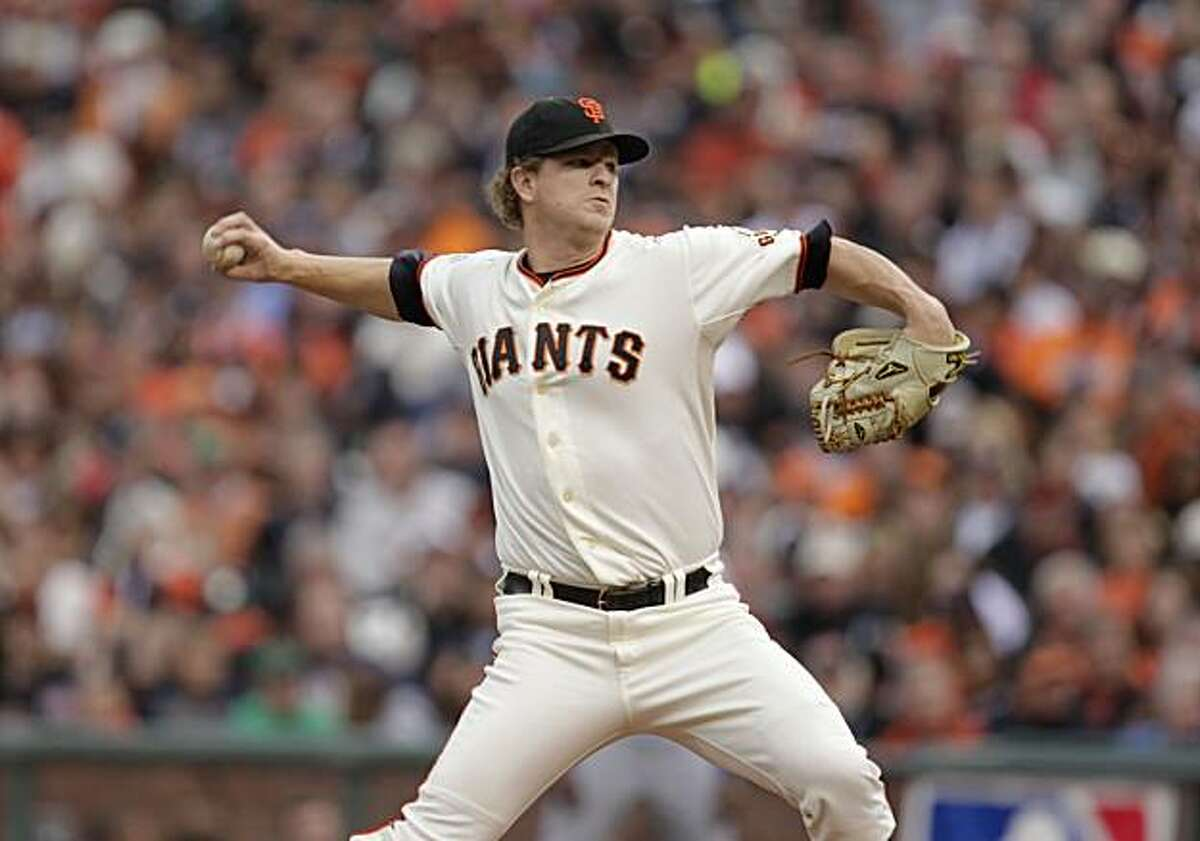 Starting pitcher Matt Cain throws in the first inning as the San Francisco Giants take on the Texas Rangers in Game 2 of the World Series at AT&T Park in San Francisco, Calif., on Thursday, October 28, 2010.
