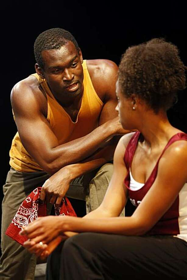 "Isaiah Johnson (Shango) talks to Lakisha May (Oya) as they perform in ""In the Red and Brown Water"" at the Marin Theatre Co., Sept. 8, 2010, in Mill Valley, Calif.  This is for West Coast premiere of ""In the Red and Brown Water,"" the first play in Tarell McCraney's ""The Brother/Sister Plays"" trilogy, one of the biggest events in Bay Area this fall. Photo: Adm Golub, The Chronicle"