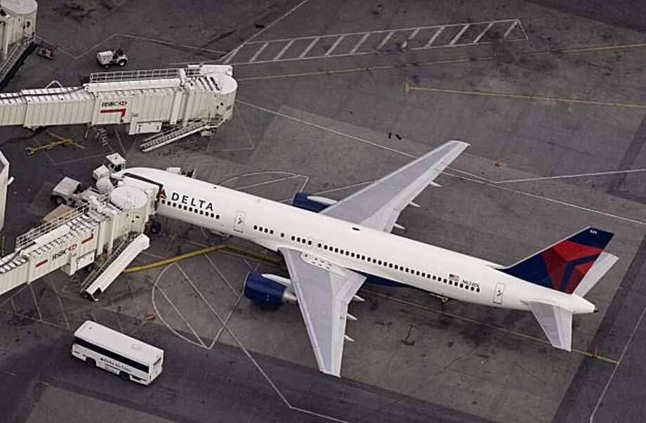 Delta Air Lines Inc., the world's largest carrier, fell $1.13, or 14 percent, to $6.75 at the close of trading on Wall Street. Photo: Mark Lennihan, AP