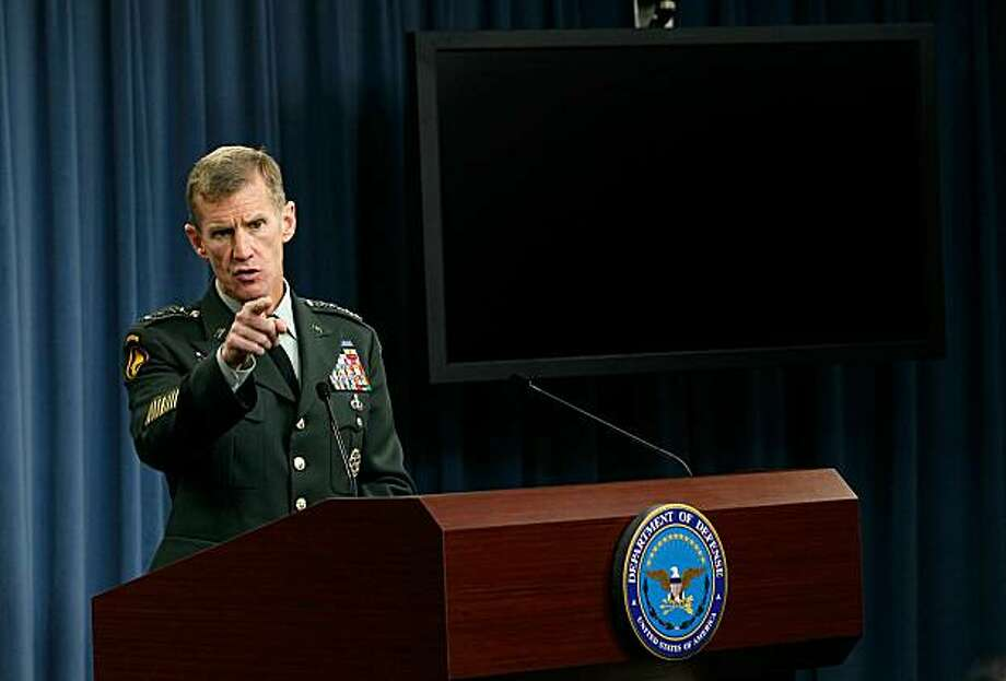 WASHINGTON - MAY 13:   (FILE PHOTO) Commander of the International Security Assistance Force and Commander of U.S. Forces Afghanistan General Stanley McChrystal speaks during a news briefing at the Pentagon May 13, 2010 in Arlington, Virginia. McChrystalspoke on the current situations happening at the war in Afghanistan. President Barack Obama summoned Gen. Stanley McChrystal to Washington from Afghanistan June 22, 2010 after an article in Rolling Stone magazine appeared in which Gen. McCrystal made disparaging remarks about the Obama administration. Photo: Alex Wong, Getty Images