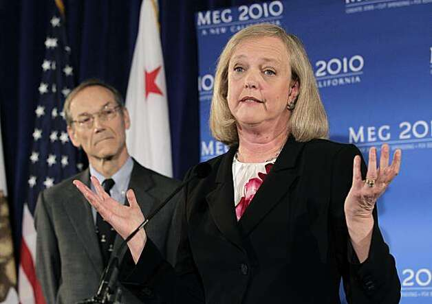 California Republican gubernatorial candidate Meg Whitman, center, joined by her husband Griff Harsh, gestures as she talks to reporters during a news conference in Santa Monica, Calif., Thursday, Sept. 30, 2010. Photo: Jae C. Hong, AP