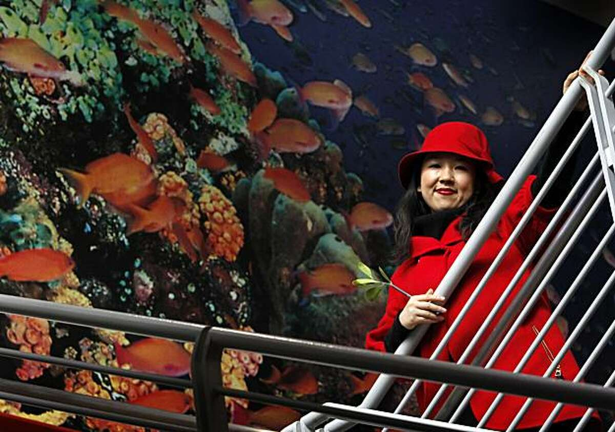 Graphic artist Yiying Lu visits the Steinhart Aquarium at the Academy of Sciences in San Francisco, Calif., on Thursday, Dec. 9, 2010. Lu designed the Twitter Fail Whale, which has become an internet sensation.