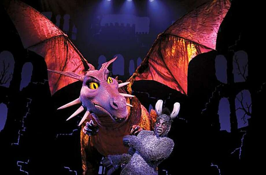 "The dragon from ""shrek: with  Donkey actor: Alan Mingo, Jr Photo: Joan Marcus"