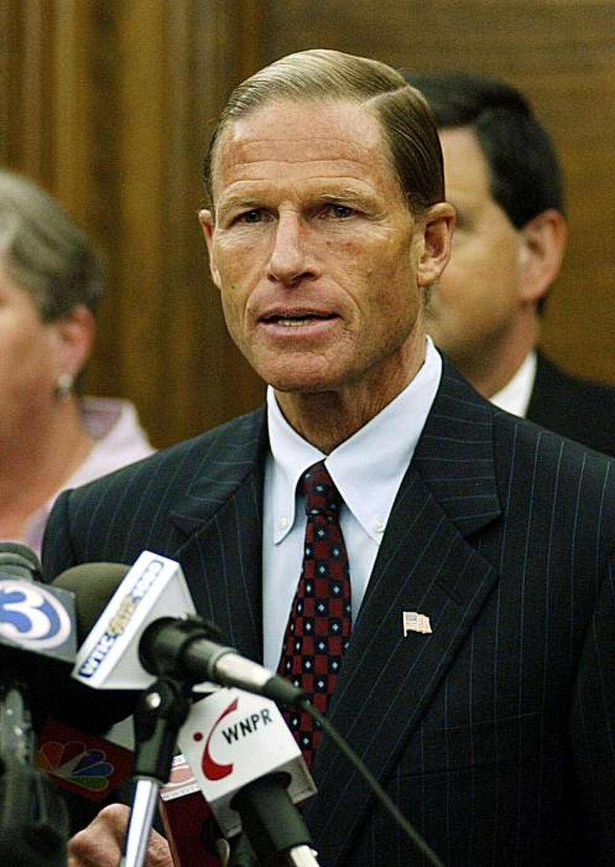 State Attorney General Richard Blumenthal speaks at a news conference Monday, Aug. 22, 2005, in his office in Hartford, Conn., where he announced that the state of Connecticut filed a federal lawsuit challenging President Bush's No Child Left Behind school reform law, arguing it is illegal because it requires expensive testing and programs it doesn't pay for. (AP Photo/Jessica Hill)