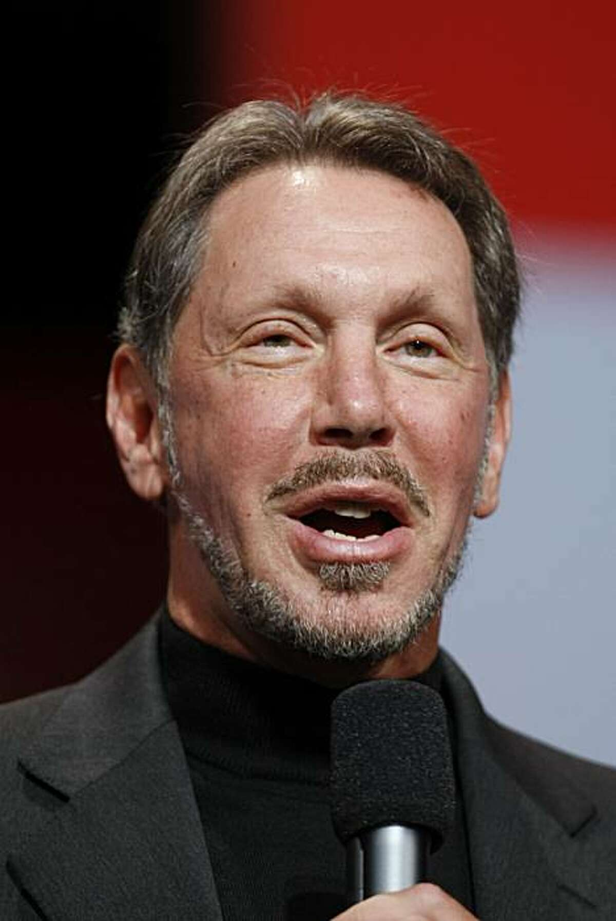 Oracle Corp. CEO Larry Ellison talks during keynote address, Wednesday, Sept. 22, 2010, at Oracle World in San Francisco.