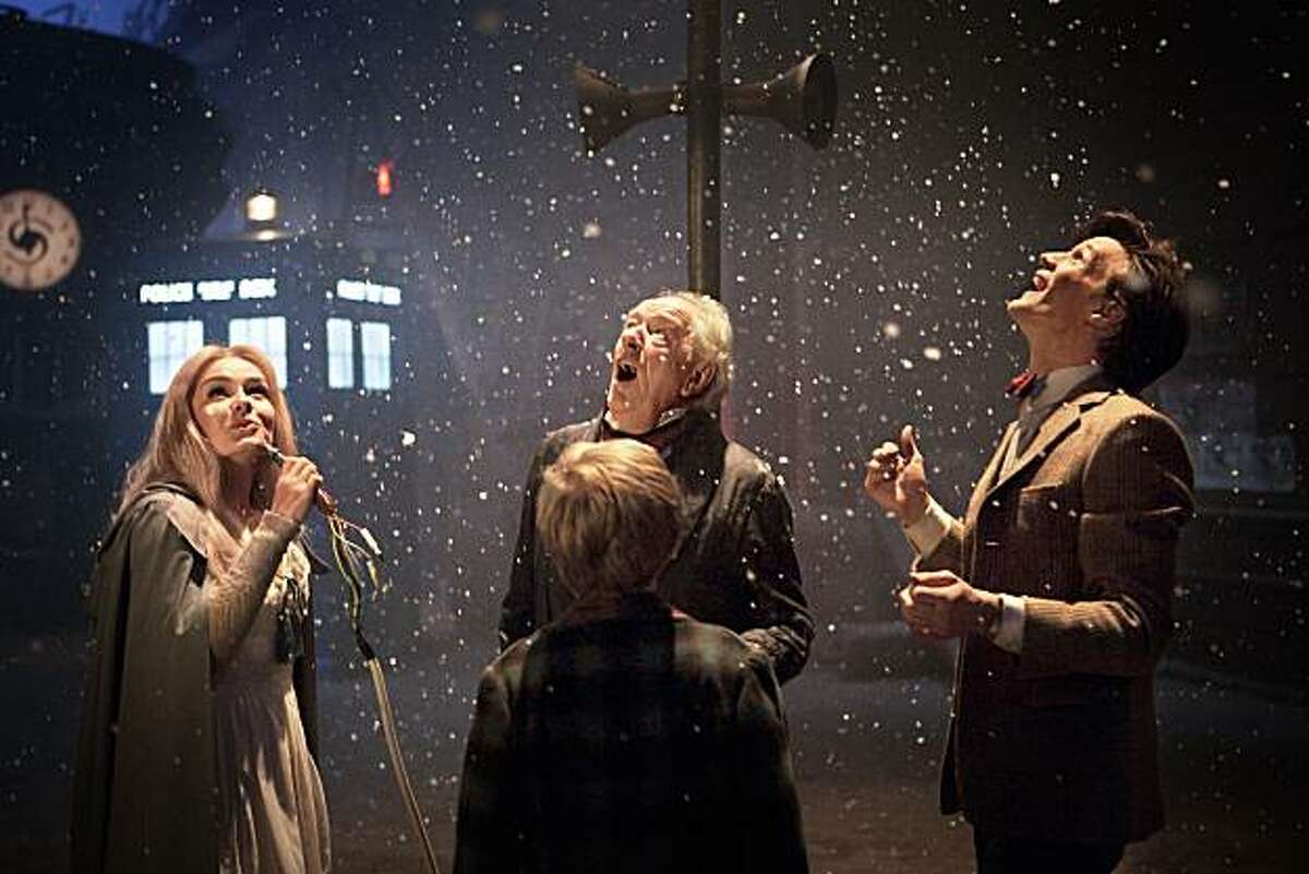Kazran Sardick (Michael Gambon), Doctor Who (Matt Smith, right) and Abigail (Katherine Jenkins, left) star in the 2010