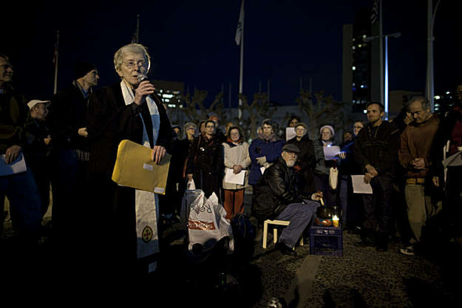 Rev. Glenda Hope leads the annual public service at the Civic Center Plaza for the people who died on the streets of San Francisco on December 21, 2010 in San Francisco, Calif.  Photograph by David Paul Morris/Special to the Chronicle Photo: David Paul Morris, Special To The Chronicle