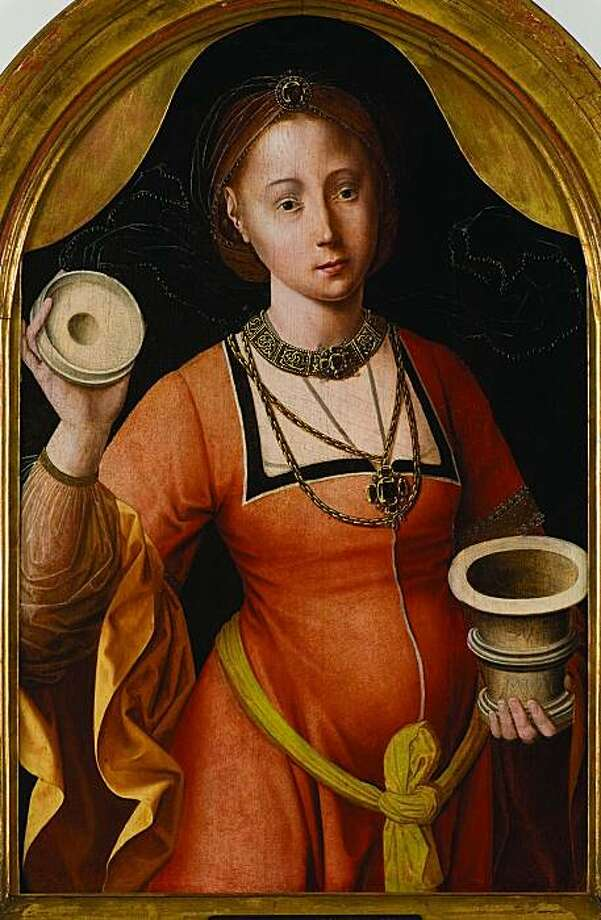 """St. Mary Magdalene"" (c. 1510-30) oil on panel by the Master of the Mansi Magdalene .  Collection of Marei von Saher, the heir of Jacques Goudstikker. Photo: Marei Von Saher Collection"