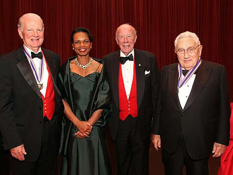 Former Secretaries of State (from left) James Baker, Condoleezza Rice, George Shultz and Henry Kissinger at Shultz's 90th birthday celebration. December 2010. By Michael Mustacchi. Photo:  Michael Mustacchi, Special To The Chronicle