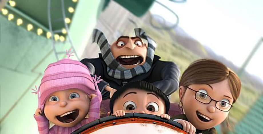 (L to R) Edith (DANA GAIER), Gru (STEVE CARELL), Agnes (ELSIE FISHER) and Margo (MIRANDA COSGROVE) ride a roller coaster in Universal Pictures and Illumination Entertainment?s inaugural 3-D CGI feature, ?Despicable Me?.  The film tells the story of one the world?s greatest villains who meets his match in three little girls. Photo: Universal Pictures