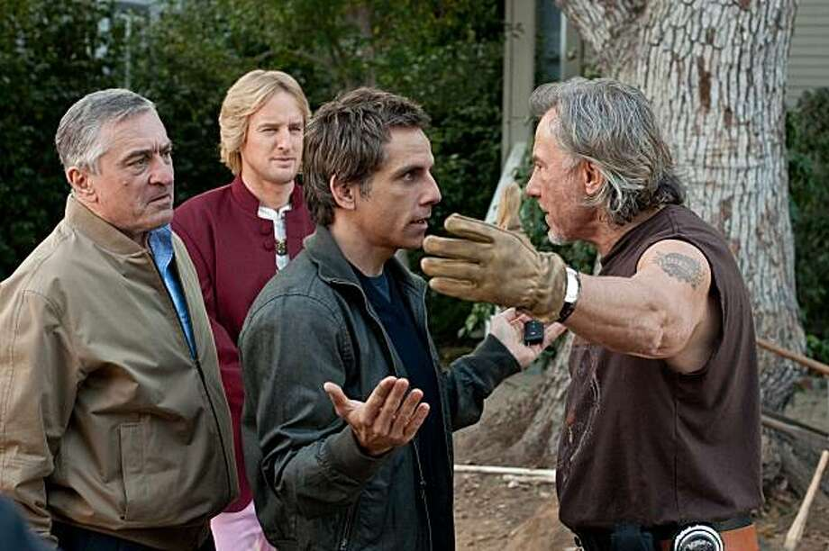 "Robert De Niro, left, Owen Wilson, Ben Stiller, and Harvey Keitel appear in a scene from, ""The Little Fockers."" Photo: Glen Wilson, Universal Pictures"