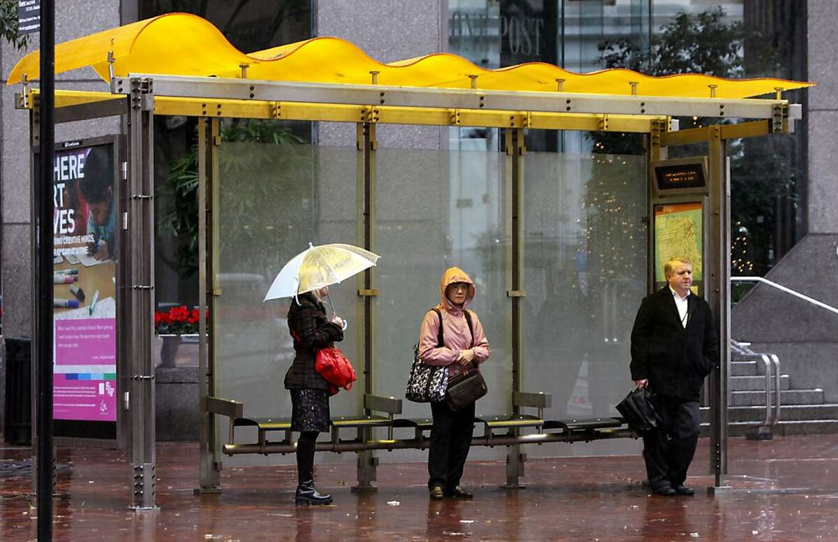 Muni rolled out their new bus shelters with much aplomb and excitement this summer. Then came winter and the rain. Cranky Muni riders waiting for their bus (which is naturally running late) realized the new bus shelters don't actually stop the rain Wednesday Dec 8, 2010
