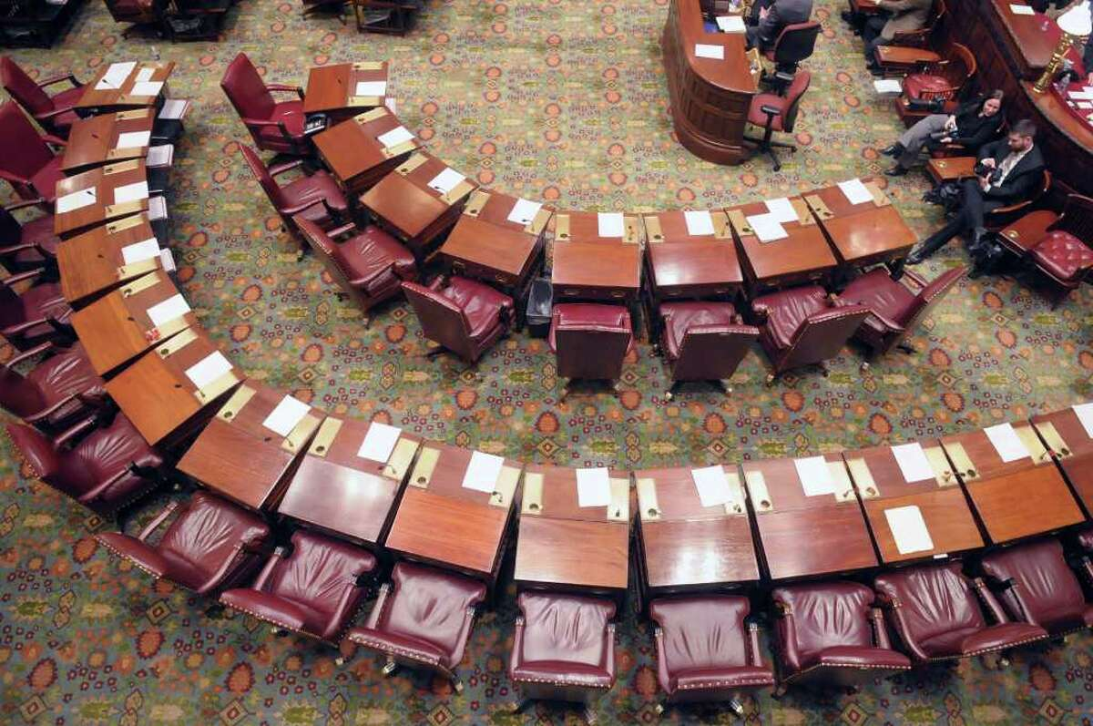 A view of the New York State Senate chambers on Monday, Jan. 9, 2012 at the capitol in Albany, NY. The Senate began the 2012 session on Monday. (Paul Buckowski / Times Union)