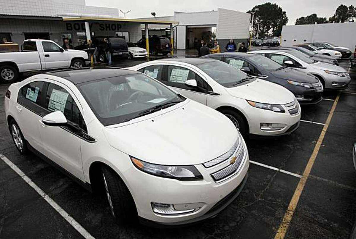 A row of 2011 Chevrolet Volt vehicles are shown Friday Dec. 17, 2010 at a Chevrolet dealership in Los Angeles. These cars are the first of the electric cars to be shipped to California.