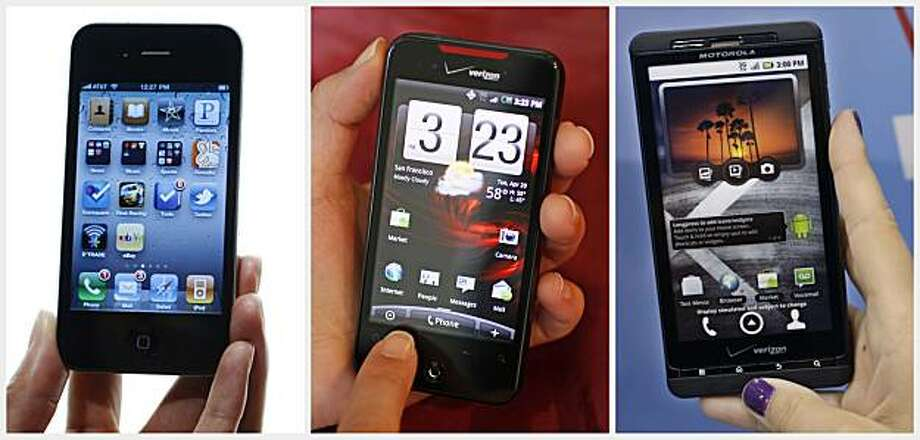 In this combo made from file photos, from left, the iPhone 3, the HTD Droid Incredible, and the Motorola Droid X are shown. Handset and software makers are staking their claims through a growing stack of patent lawsuits, with Nokia suing Apple, Apple suing HTC, Microsoft suing Motorola and many more. Photo: AP
