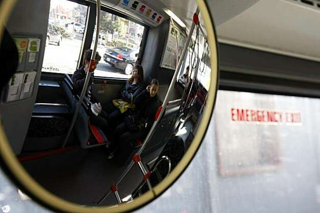 Anna Bachman, middle, and Alana Riemermann ride the new free Broadway Shuttle, Thursday, December 16, 2010, oakland, Calif. Photo: Adm Golub, The Chronicle