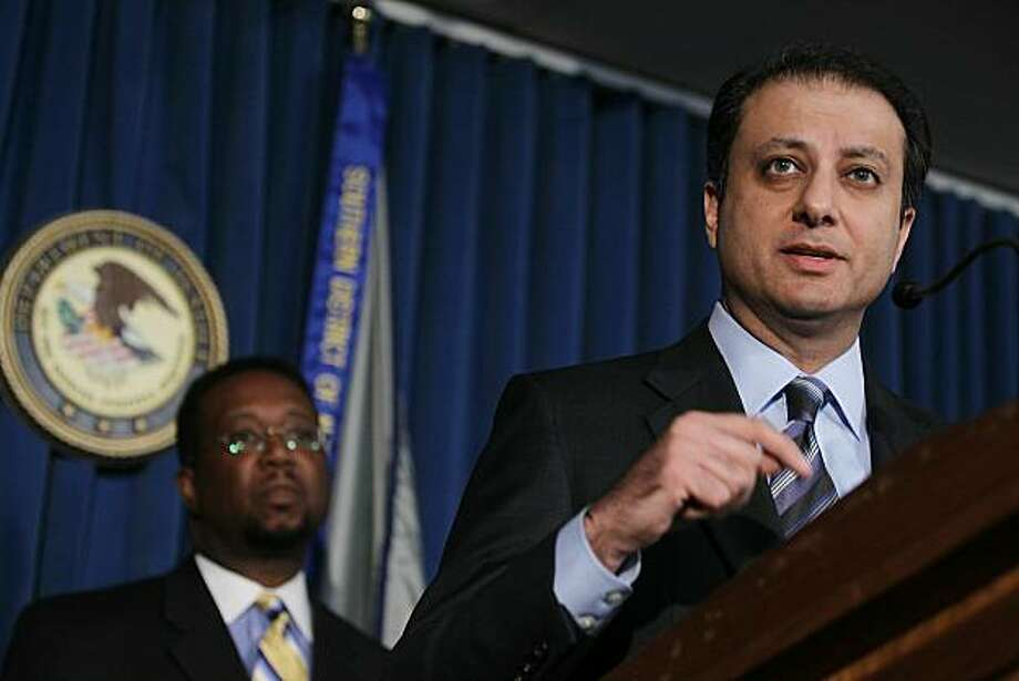 NEW YORK, NY - DECEMBER 17:  Preet Bharara, U.S. Attorney for the Southern District of New York, speaks as Orlan Johnson, Chairman of the Securities Investor Protection Corporation, looks on at a news conference announcing the recovery of $7.2 billion inthe Bernard Madoff Ponzi scheme December 17, 2010 in New York City. The widow of Florida philanthropist Jeffry Picower agreed to return the entire $7.2 billion Picower received from investing with Madoff. The funds will be distributed to the victims of the fraud. Photo: Mario Tama, Getty Images