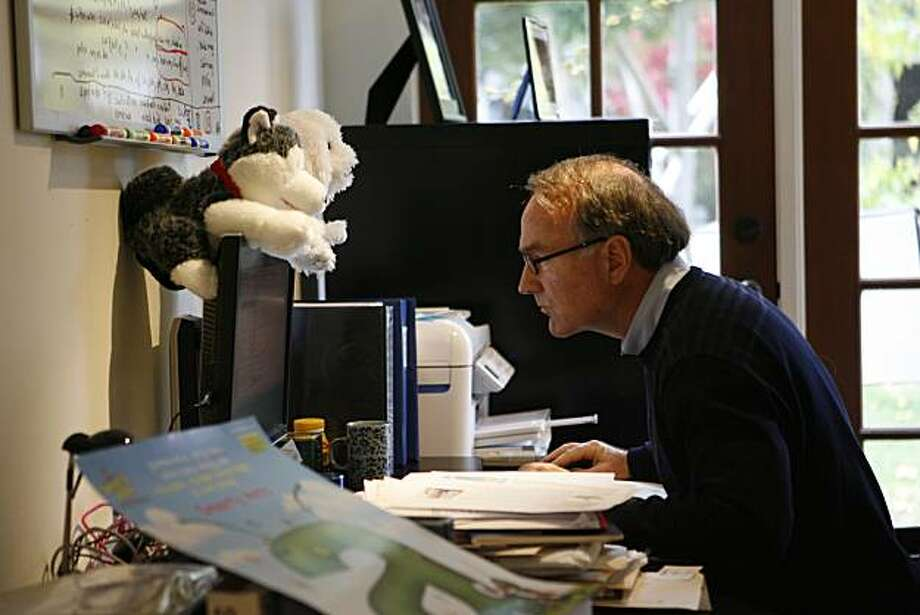 LeapFrog founder Michael Wood has created a new company called Smarty Ants, an online learning system geared to help children learn to read that includes robotic Phonics Reading Pups that are created to accompany online subscribers. He shares an office space with other Smarty Ants team members in Burlingame, Calif. on Friday, Nov. 19, 2010. Photo: Kirsten Aguilar, The Chronicle