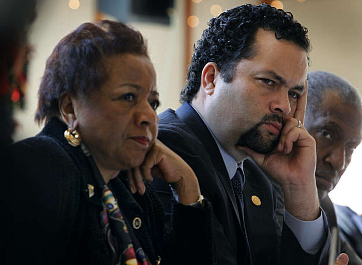 Alice Huffman, president of the California State NAACP; Ben Jealous, National President of NAACP; and National Board Member Willis Edwards listen to testimony by Oakland Police Chief Anthony Batts at a public hearing convened by the California chapter of the NAACP in Oakland, Calif., on Thursday, Dec. 16, 2010. The meeting was called in the wake of the police shooting that killed Derrick Jones on Nov. 8.